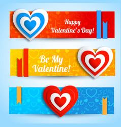 Greeting romantic horizontal banners vector