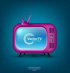 icon pink retro TV vector image vector image