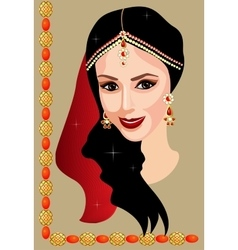 Indian woman with jewelry vector