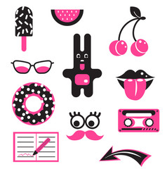 Pink and black fun patches stickers vector