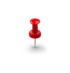 Realistic red push pin isolated on white vector