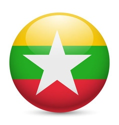 Round glossy icon of myanmar vector