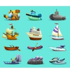 Ships and boats icons set vector