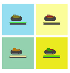 Stone for curling sport game collection vector