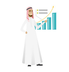 Successful businessman pointing at chart vector