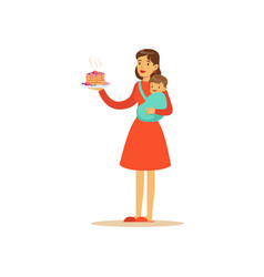 Super mom character with child holding cake vector