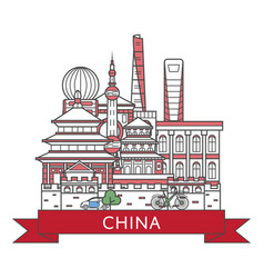 Travel china poster in linear style vector