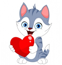 valentine cat vector image