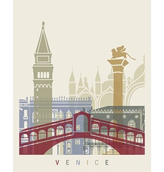 Venice skyline poster vector image vector image