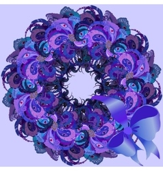 Violet wreath with painted peacock feathers vector