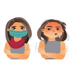 woman having flu fever wearing medical mask vector image