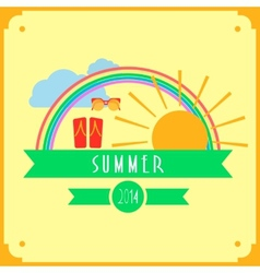 Yellow summer card with sun rainbow clouds vector