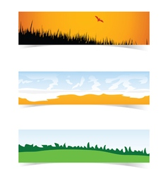 Banner with landscape icon set in color vector