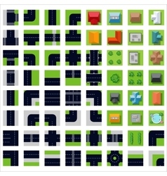 Top view set icons vector