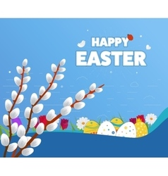 Happy easter card eggs grass flowers poster vector