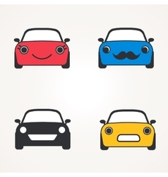 Cute cars icons sign front view set vector