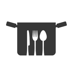 silhouette pot fork spoon knife symbol kitchen vector image