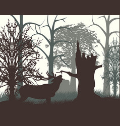 Deer in wood in the morning vector