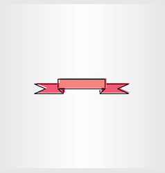 Light red ribbon banner design element vector