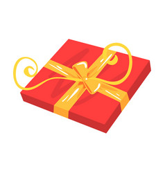 Red gift box with yellow bow cartoon vector