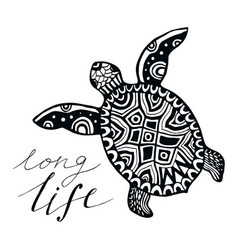 Zentangle turtle with calligraphic quote - long vector