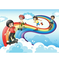 Kids in the sky playing with the rainbow vector