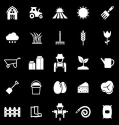 Farming icons on black background vector