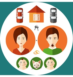 Young family in a flat style vector image