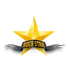 Golden star with rock star banner vector