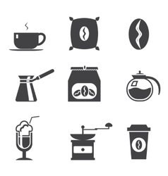 Coffe modern trendy silhouette isolated icons set vector