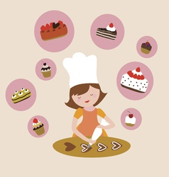 Young woman prepares sweets vector image