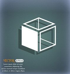 3d cube icon sign on the blue-green abstract vector