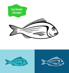 Sea bream silhouette vector