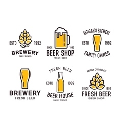 Set of linear brewery logos labels with bottles vector