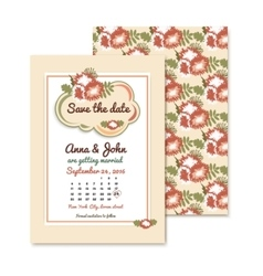 Wedding invitations with autumn floral background vector