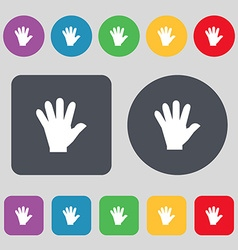 Hand icon sign a set of 12 colored buttons flat vector