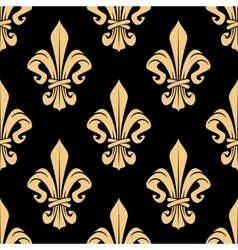 Seamless vintage golden fleur-de-lis pattern vector
