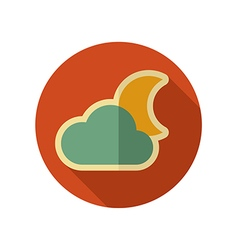 Cloud moon retro flat icon meteorology weather vector