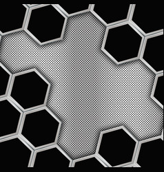 Geometric background with hexagons metal backgroun vector
