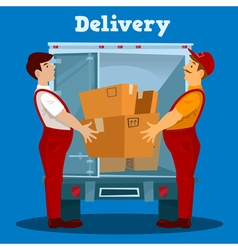 Delivery van delivery man with box delivery vector