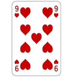 Poker playing card 9 heart vector