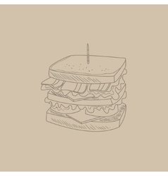 Club sandwich hand drawn sketch vector