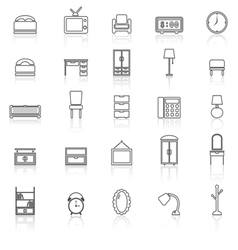 Bedroom line icons with reflect on white vector image