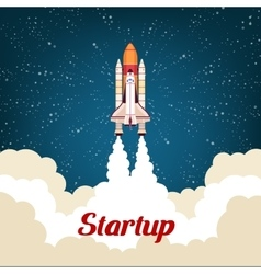 Business startup poster with rocket vector