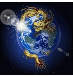 Chinese dragon holding planet earth vector