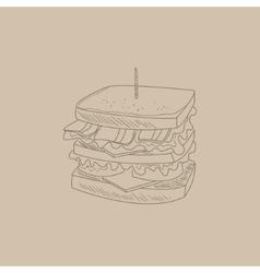 Club sandwich hand drawn sketch vector