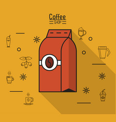 colorful poster of coffee shop with bag of ground vector image