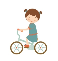 Cute little girl riding a bike vector