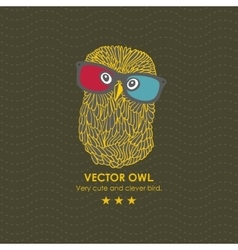 Cute owl in the 3d cinema vector