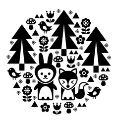 Cute scandinavian round folk art pattern vector